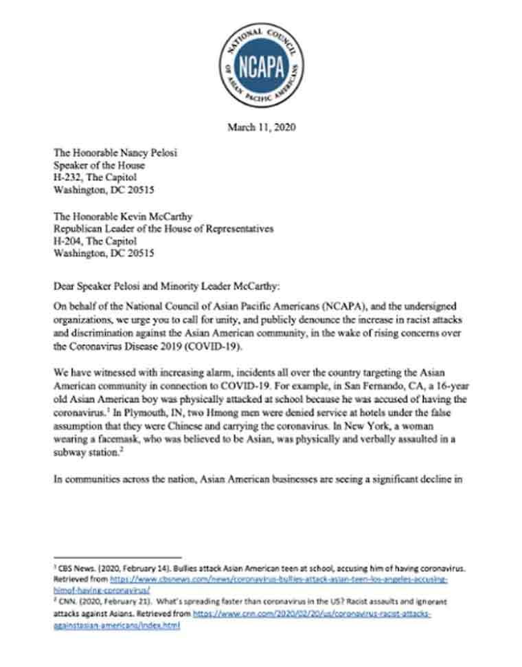アジア系のアメリカ人で作る団体や人権団体などが合同で、アジア系住民に対する差別被害について議会に対応求める手紙を送った(アメリカ)