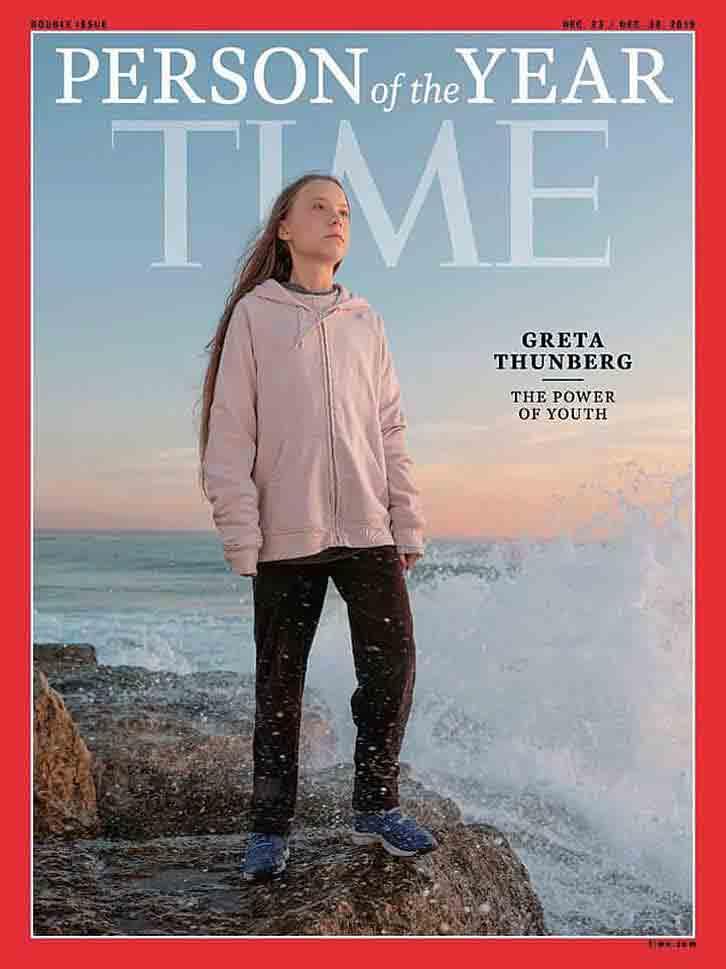 米タイム誌は年末恒例の「今年の人」にグレタさんを選んだ