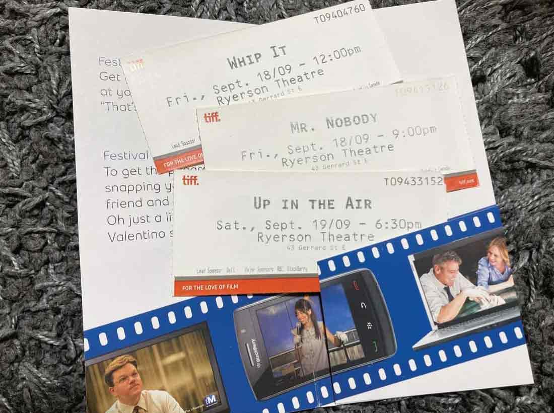 2009年のTIFFの上映チケット
