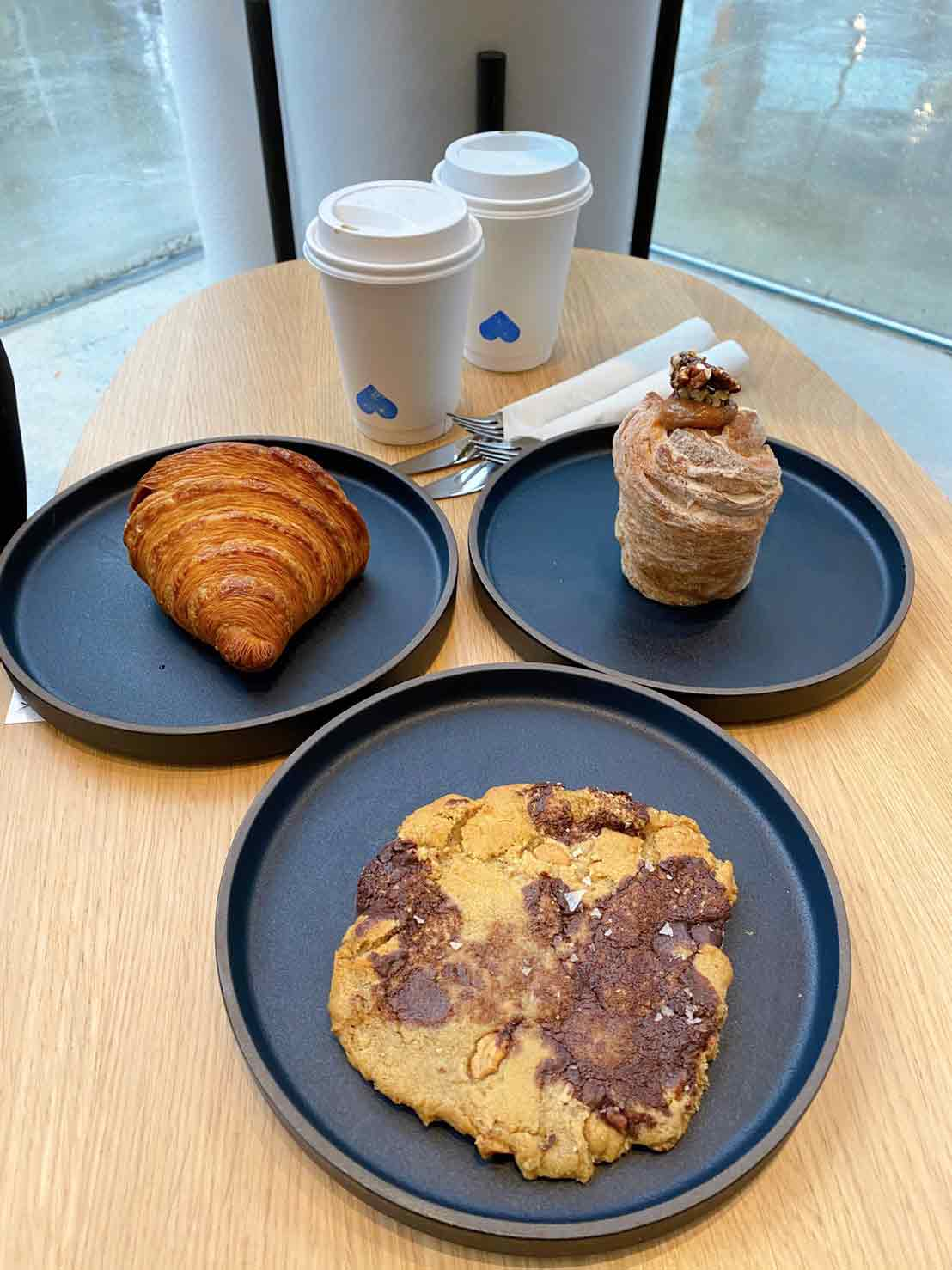 Butter Croissant, Chocolate cashew, Maple pecan cruffin